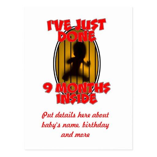 I've Just Done Nine Months Inside - Newborn Postcard