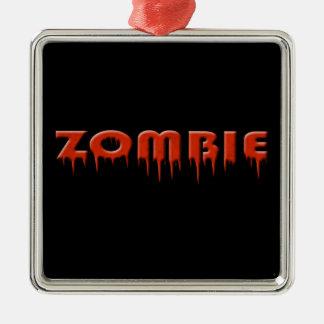 ¡ive mordido por un zombi! adorno cuadrado plateado