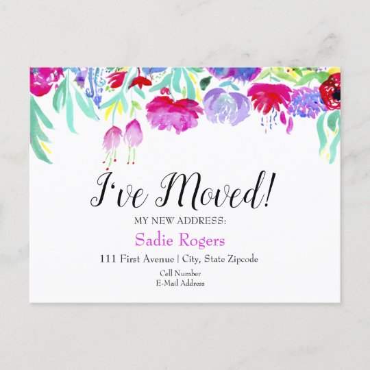 I've Moved Change Of Address Floral Peonies Announcement Postcard