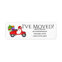 I've Moved Christmas scooter with gifts Label