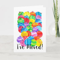 I've Moved/New Address , watercolor baubles Holiday Card