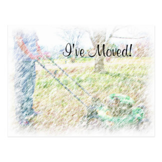 I've Moved on Colored Pencil Lawn Mowing postcard