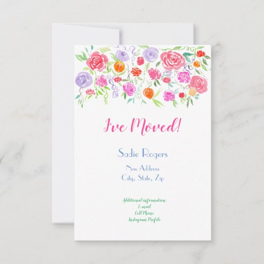 I've Moved Watercolor Roses Announcement
