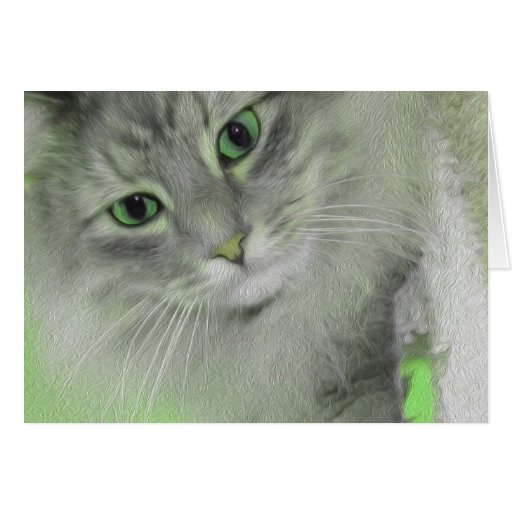 I've Only Got Eyes For You - Neon Green Cat Card