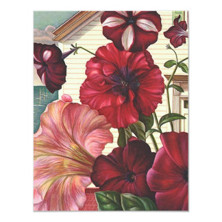 """I've We've Moved Announcement Petunia Flowers Home 4.25"""" X 5.5"""" Invitation Card"""