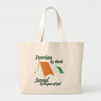 Ivorian by birth saved by the grace of God Large Tote Bag