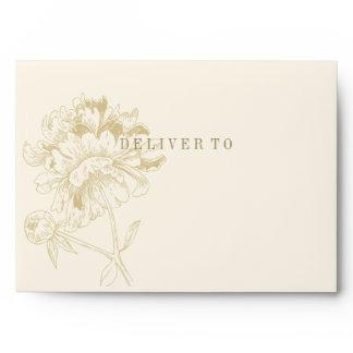 Ivory 5 x 7 Envelopes with Gold Return Address