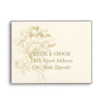 Ivory A2 Peony Flower in Gold Response Envelopes