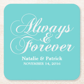 Ivory Always & Forever Wedding Paper Coasters