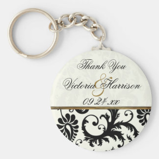 Ivory and Black Damask Wedding Favor Key Chain
