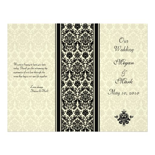 Ivory and Black Damask Wedding Program Full Color Flyer
