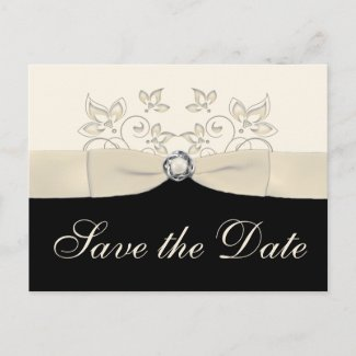 Ivory and Black Floral Save the Date Postcard postcard