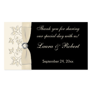 Ivory and Black Floral Wedding Favor Tag Business Card