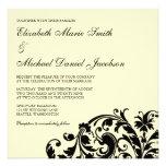 Ivory and Black Flourish Swirl Wedding Invitations