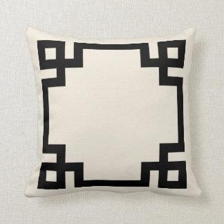 Ivory and Black Greek Key Border Throw Pillow