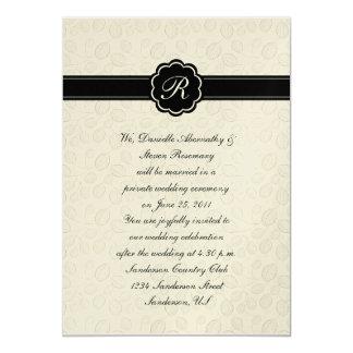 Ivory and Black Leaf Monogram Post Wedding Cele 5x7 Paper Invitation Card