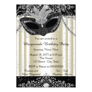 Ivory and Black Pearl Glitter Masquerade Party Card