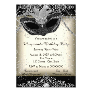 Ivory and Black Pearl Glitter Masquerade Party 5x7 Paper Invitation Card