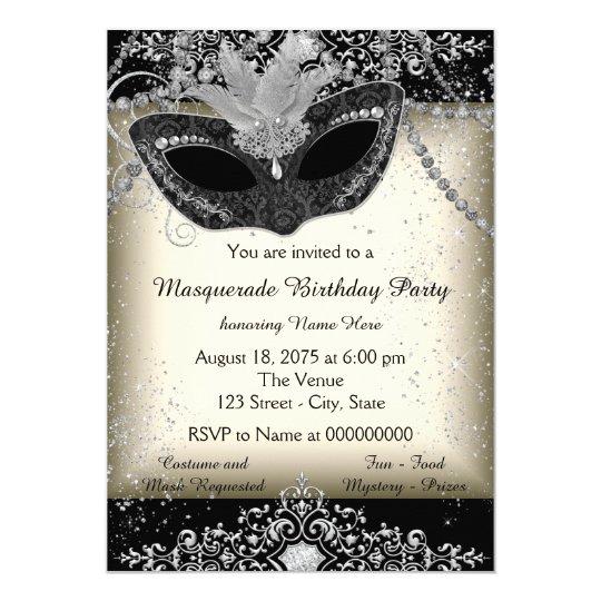 Ivory And Black Pearl Glitter Masquerade Party Invitation Zazzle Com
