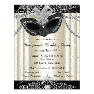 Ivory and Black Pearl Glitter Masquerade Party 4.25x5.5 Paper Invitation Card