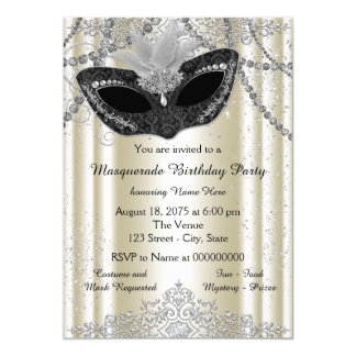 Ivory and Black Pearl Masquerade Party 5x7 Paper Invitation Card
