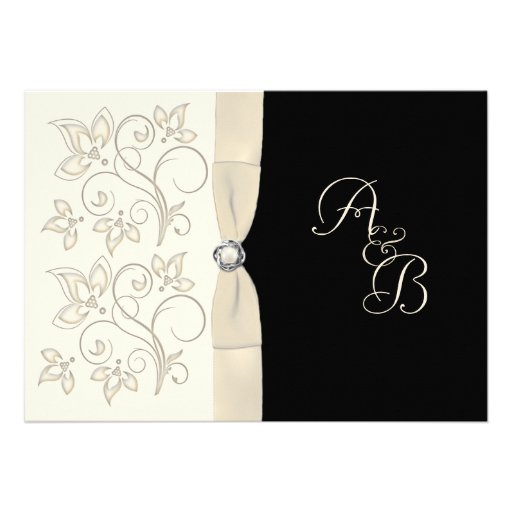Ivory and Black with Pearl Love Knot Invitation