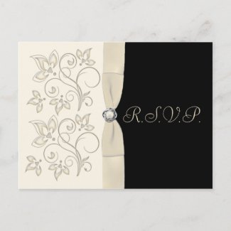 Ivory and Black with Pearl Love Knot RSVP Postcard postcard