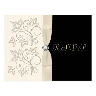 Ivory and Black with Pearl Love Knot RSVP Postcard