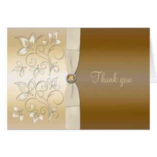 Ivory and Bronze Floral Thank You Card