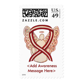 Ivory and Burgundy Awareness Ribbon Postage Stamps
