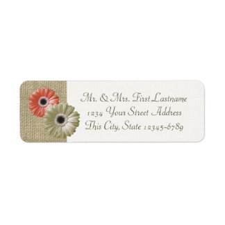 Ivory and Coral Gerbera Daisy and Burlap Label