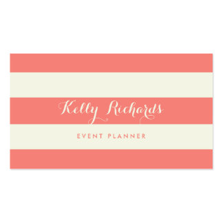 Ivory and Coral Pink Stripes Pattern Business Card