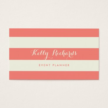 Professional Business Ivory and Coral Pink Stripes Pattern Business Card