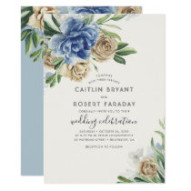 Ivory and Dusty Blue Floral Rustic Country Wedding Invitation