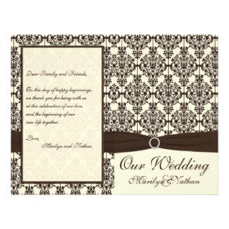 Ivory and Espresso Damask Wedding Program