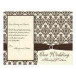 Ivory and Espresso Damask Wedding Program Flyer Design