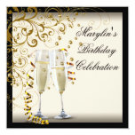 Ivory and Gold Birthday Party 5.25x5.25 Square Paper Invitation Card