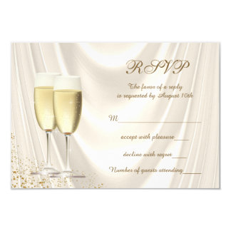 Ivory and Gold Champagne RSVP Card