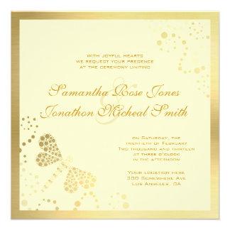 Ivory and Gold Dragonfly Pointilism Custom Wedding Custom Invitation