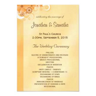 Ivory and Gold Floral Elegant Wedding Programs Card