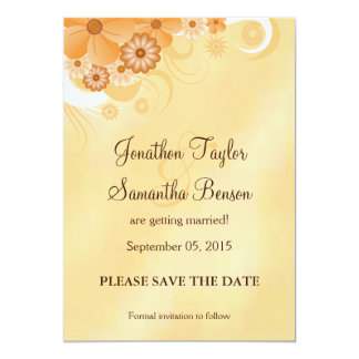 Ivory and Gold Floral Save The Date Announcement