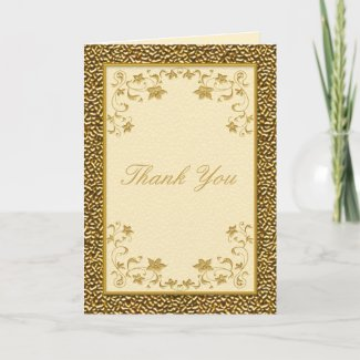 Ivory and Gold Floral Thank You Card card
