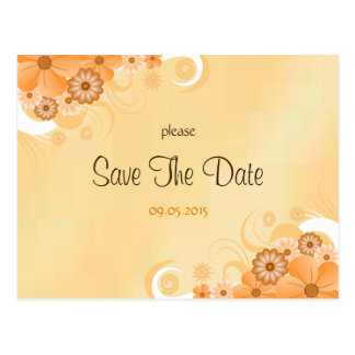 Ivory and Gold Floral Wedding Save The Date Cards