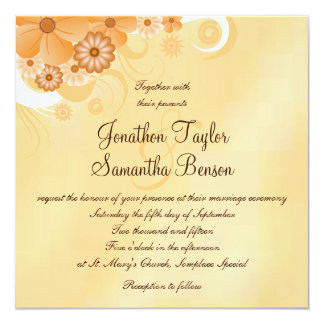 Ivory and Gold Hibiscus Floral Chic Square Invites
