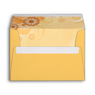 Ivory and Gold Hibiscus Floral Classy A7 Envelope