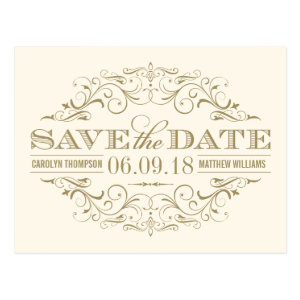 Ivory and Gold Save the Date | Swirl and Flourish Postcard