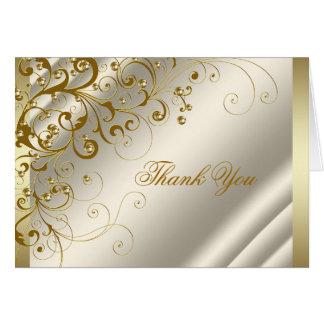 Ivory and Gold Thank You Cards