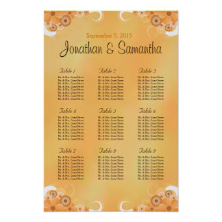 Ivory and Gold Wedding Table Seating Charts Poster