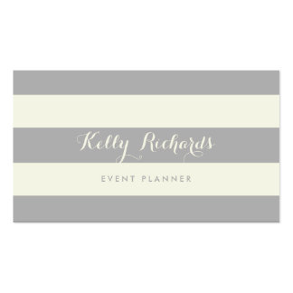 Ivory and Gray Stripes Pattern Business Card