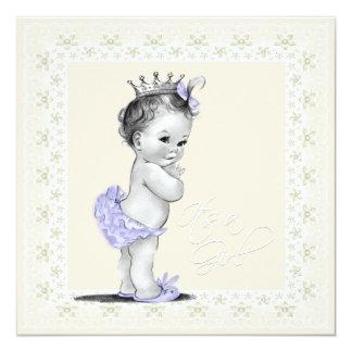 Ivory and Lavender Baby Girl Shower Invite